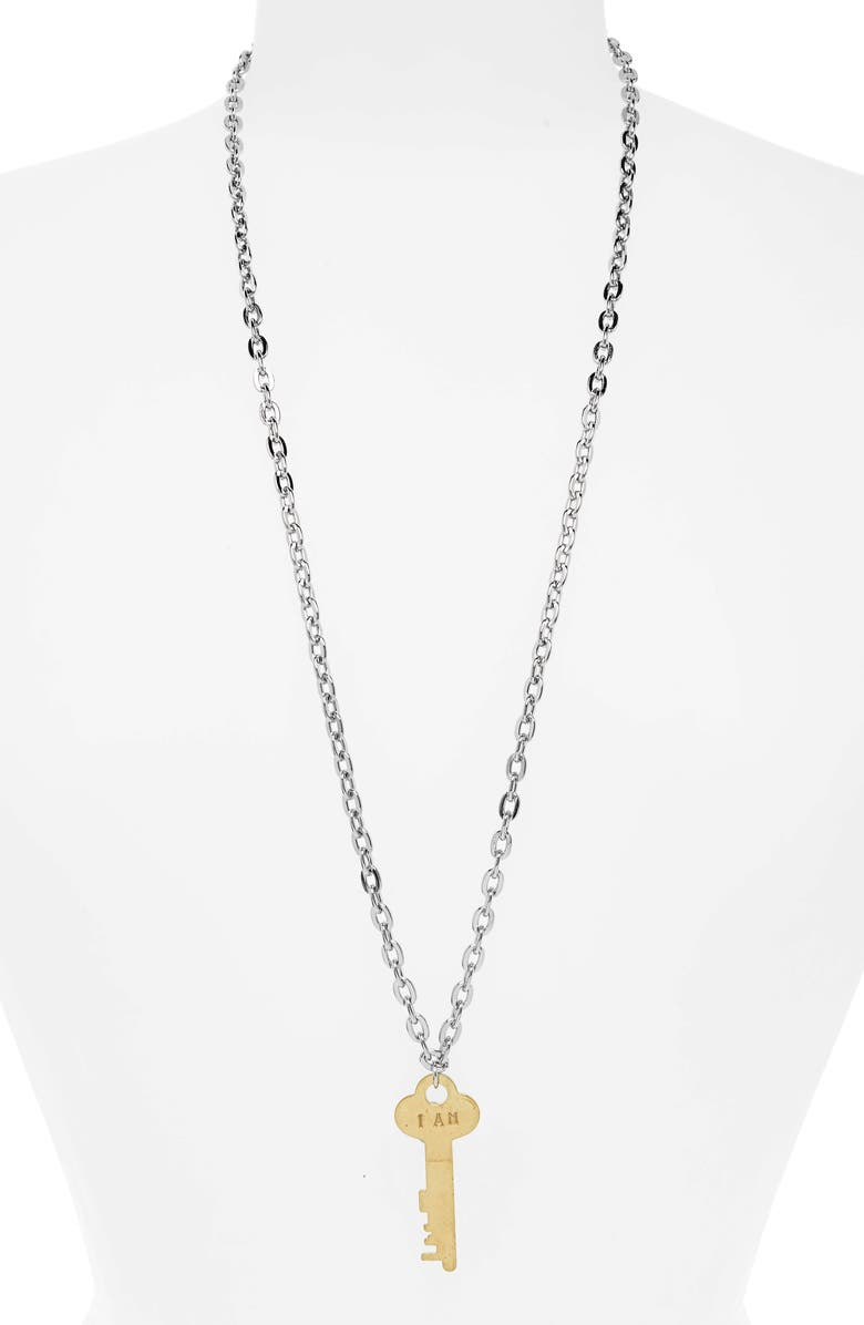 THE GIVING KEYS I Am Fearless Key Charm Necklace, Main, color, 043