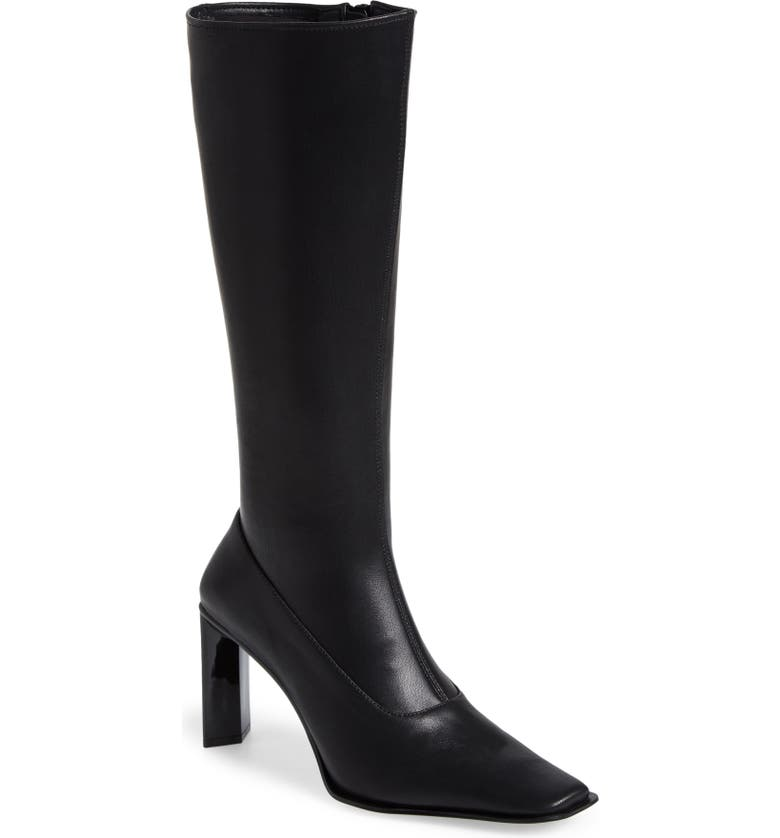 JEFFREY CAMPBELL Elodie Knee High Boot, Main, color, BLACK STRETCH