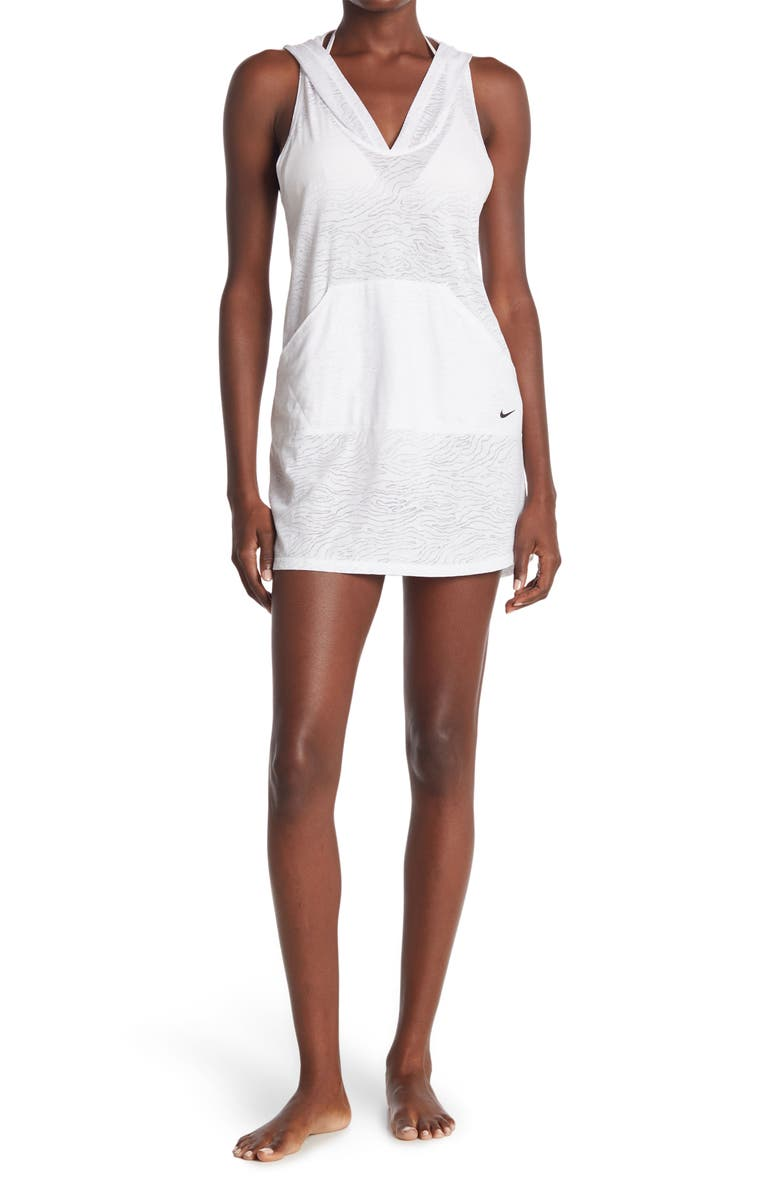 NIKE Hooded Cover-Up Dress, Main, color, WHITE