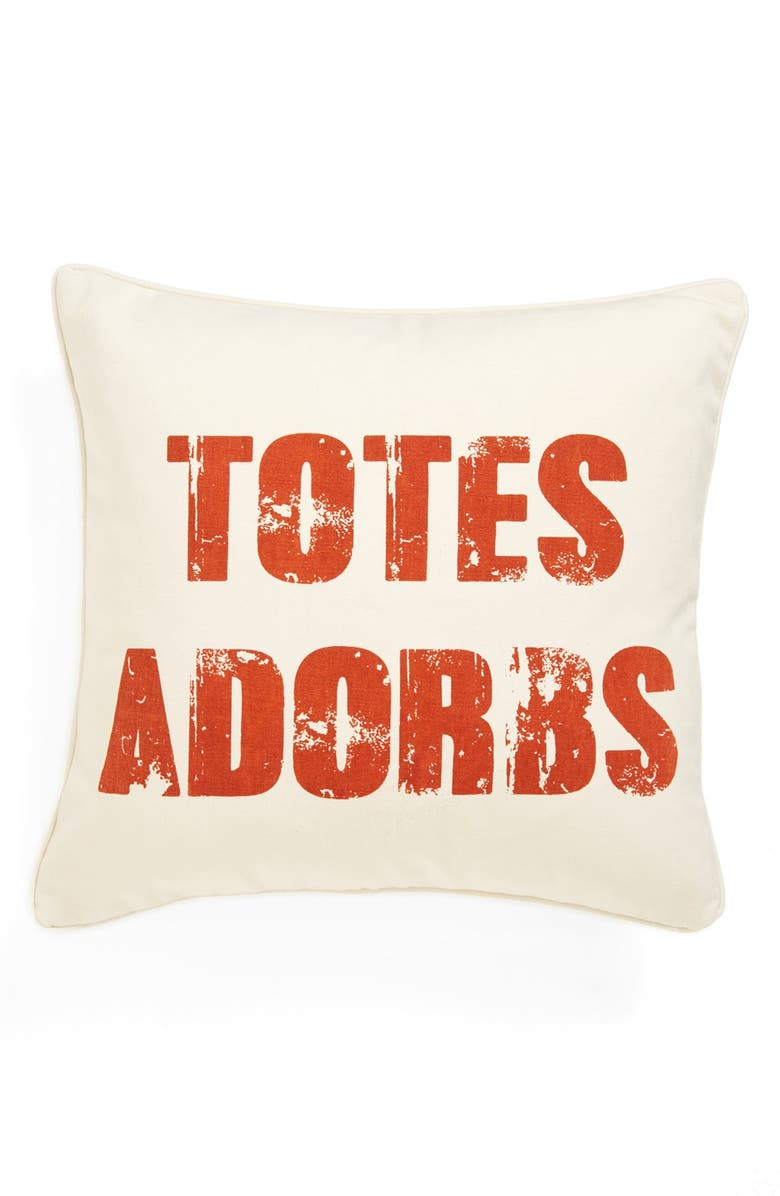 LEVTEX 'Totes Adorbs' Square Pillow, Main, color, BURNT SIENNA ON LT CRM BS CL
