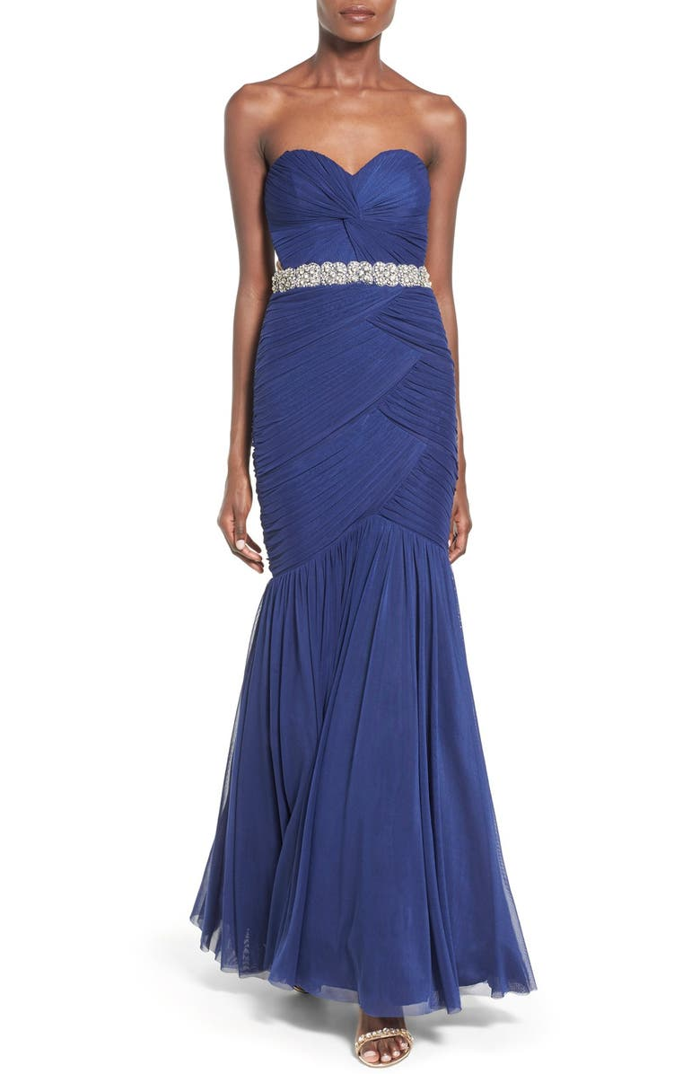 WAY-IN Strapless 'Amy' Ruched Mermaid Gown, Main, color, INDIGO
