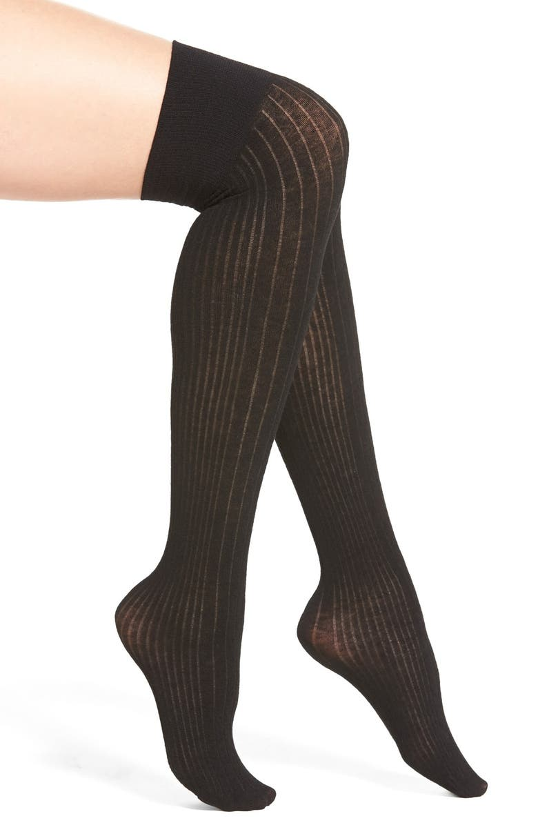 DKNY Variegated Ribbed Over the Knee Socks, Main, color, 002