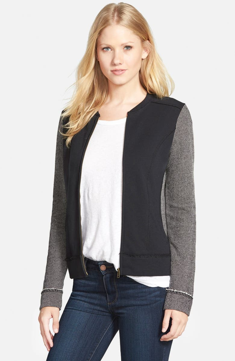 CASLON<SUP>®</SUP> Mixed Knit Bomber Jacket, Main, color, 005