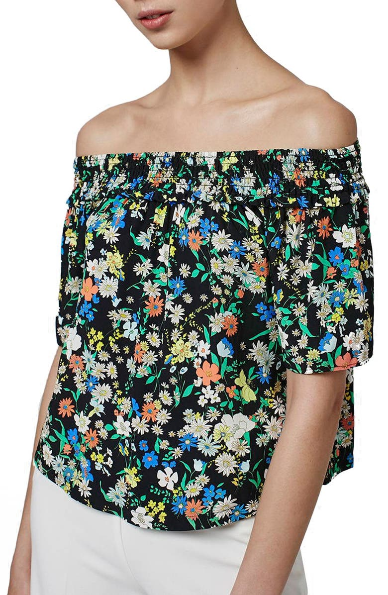 TOPSHOP Floral Print Off the Shoulder Blouse, Main, color, 001