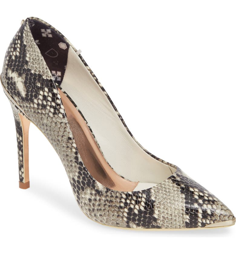 TED BAKER LONDON Izibely Pointy Toe Pump, Main, color, SNAKE LEATHER