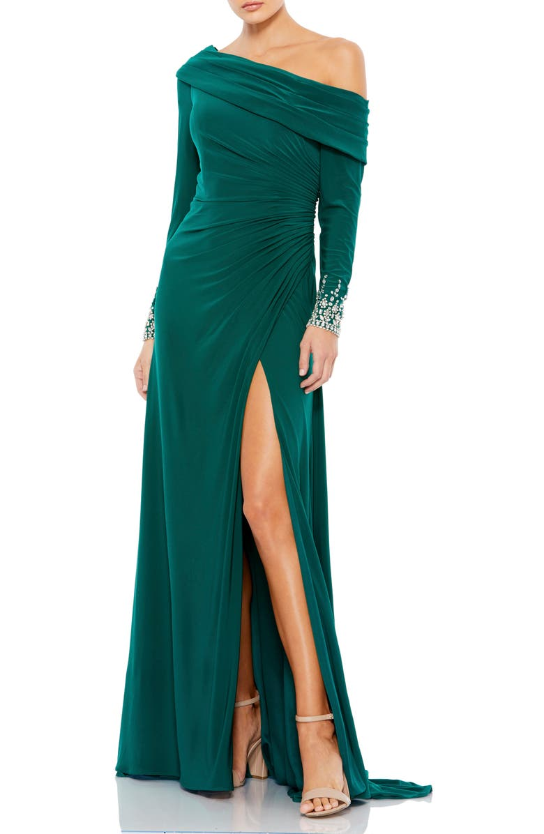 MAC DUGGAL One-Shoulder Long Sleeve Jersey Gown, Main, color, EMERALD