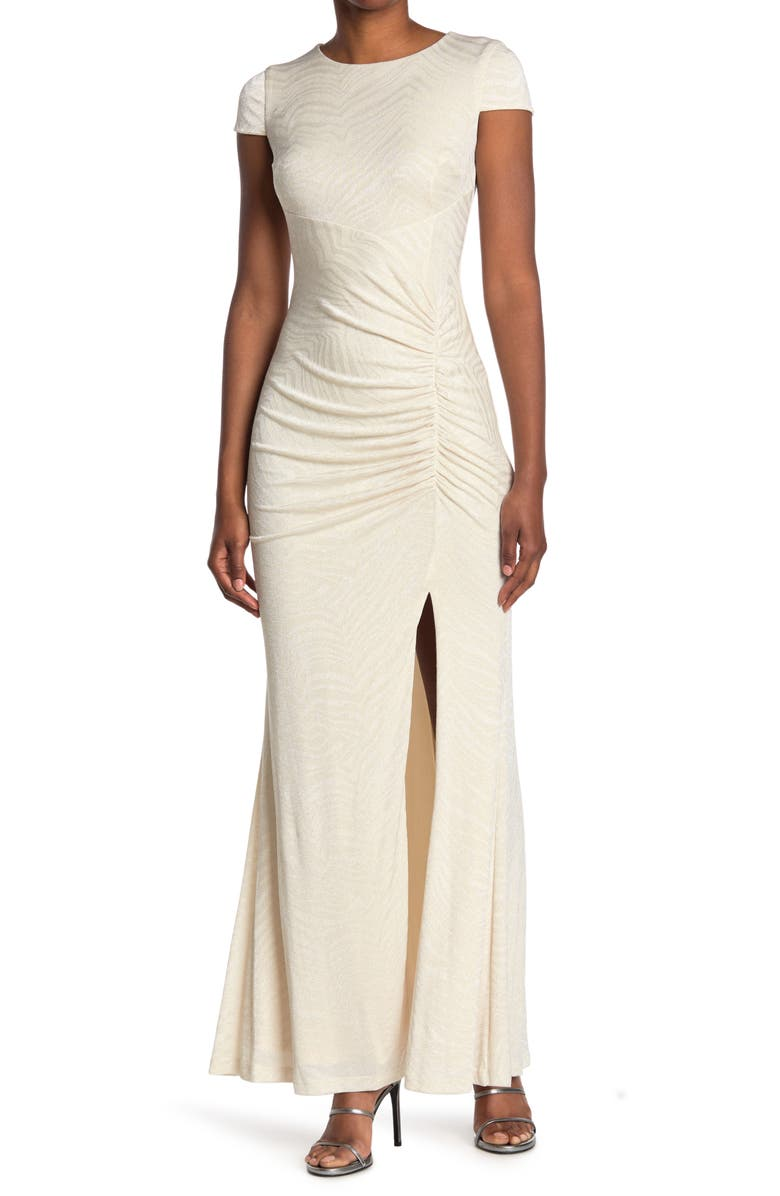 CALVIN KLEIN Glitter Ruched Cap Sleeve Gown, Main, color, WHITE