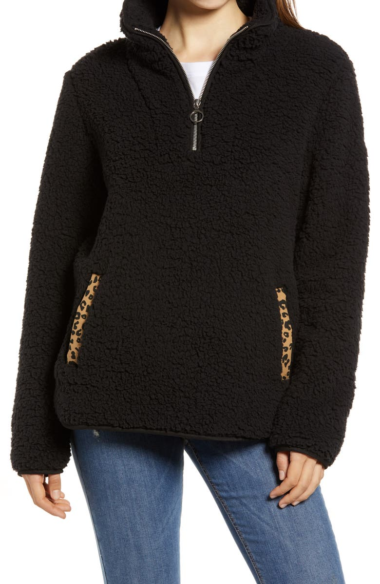 THREAD & SUPPLY Wubby Fleece Pullover, Main, color, BLACK/ LEOPARD