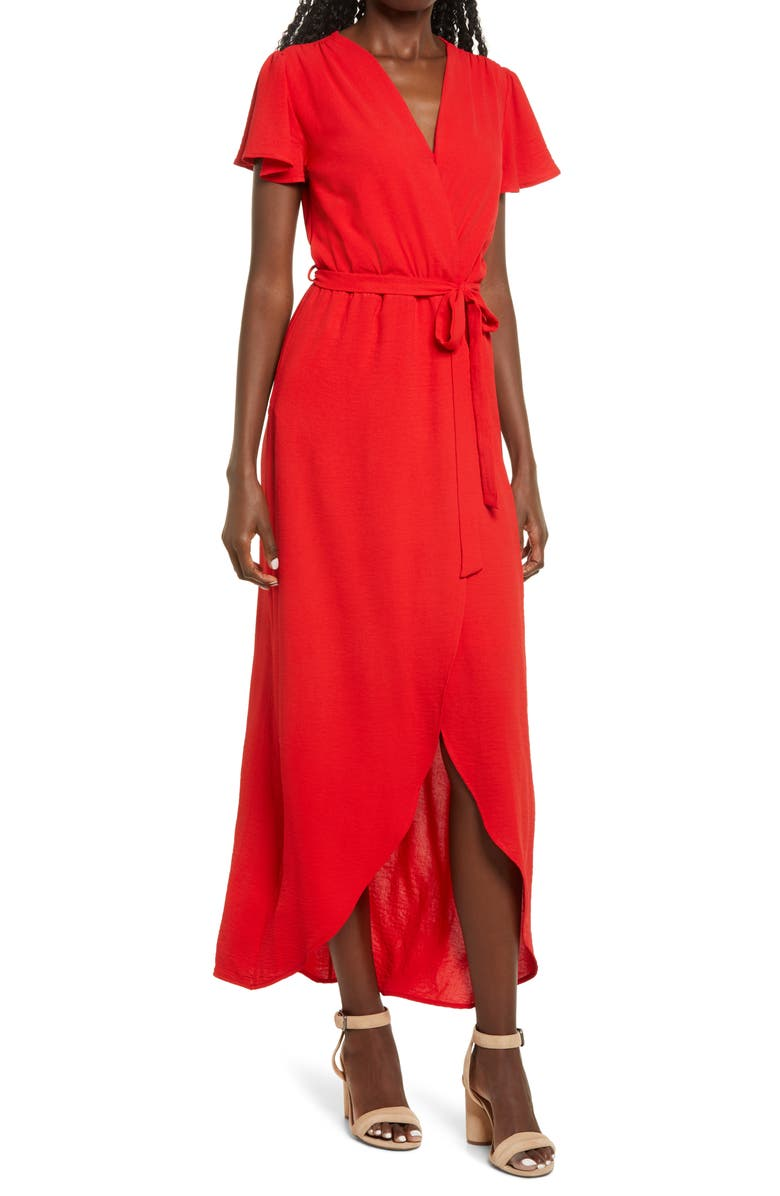 FRAICHE BY J High/Low Faux Wrap Dress, Main, color, RED