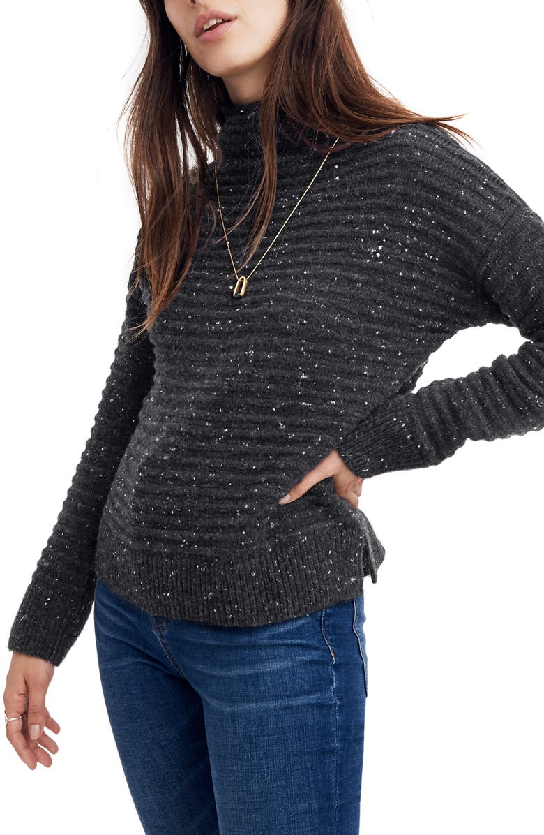 MADEWELL Belmont Donegal Mock Neck Sweater, Main, color, DONEGAL STORM