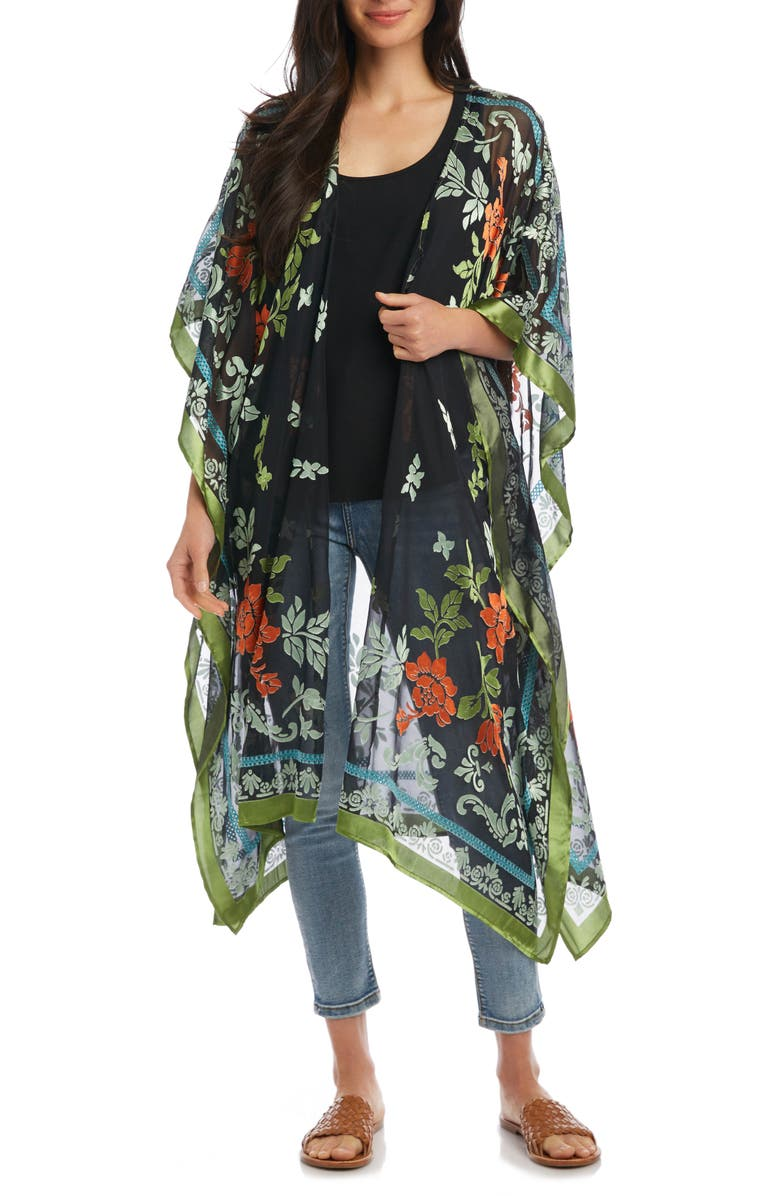 KAREN KANE Flocked Floral Wrap, Main, color, 001