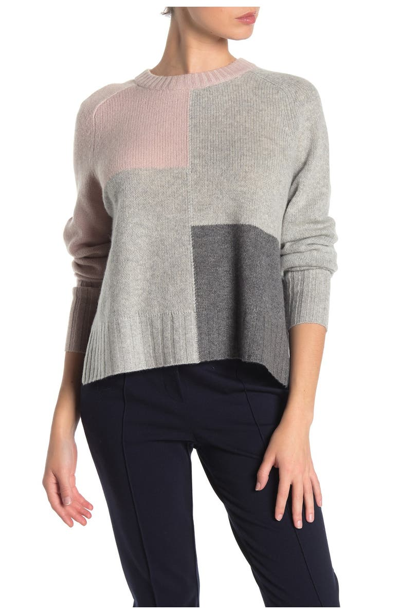 360 CASHMERE Hailey Colorblock Cashmere Sweater, Main, color, BISQUE/LT H GREY/MID H GREY