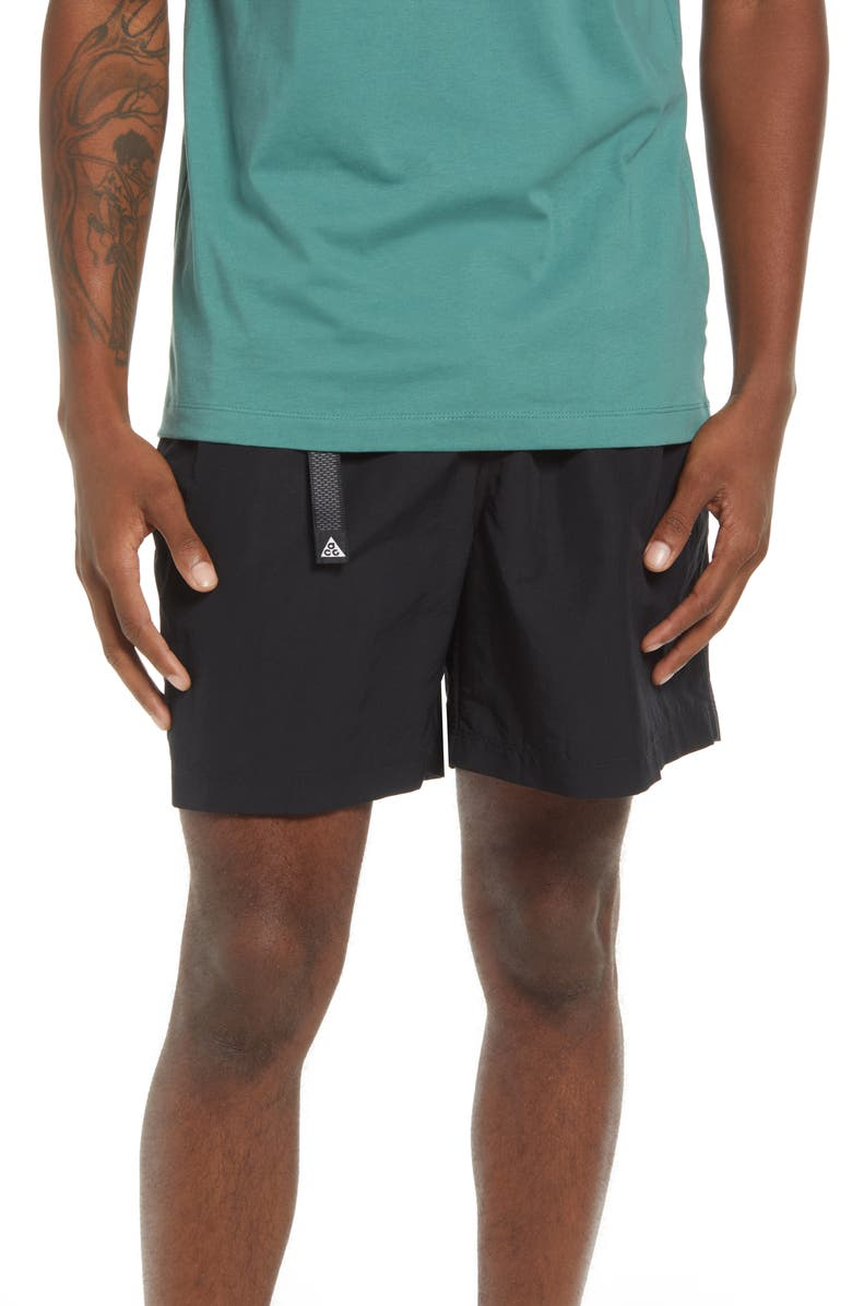 NIKE ACG Water Repellent Trail Shorts, Main, color, BLACK/ ANTHRACITE/ WHITE