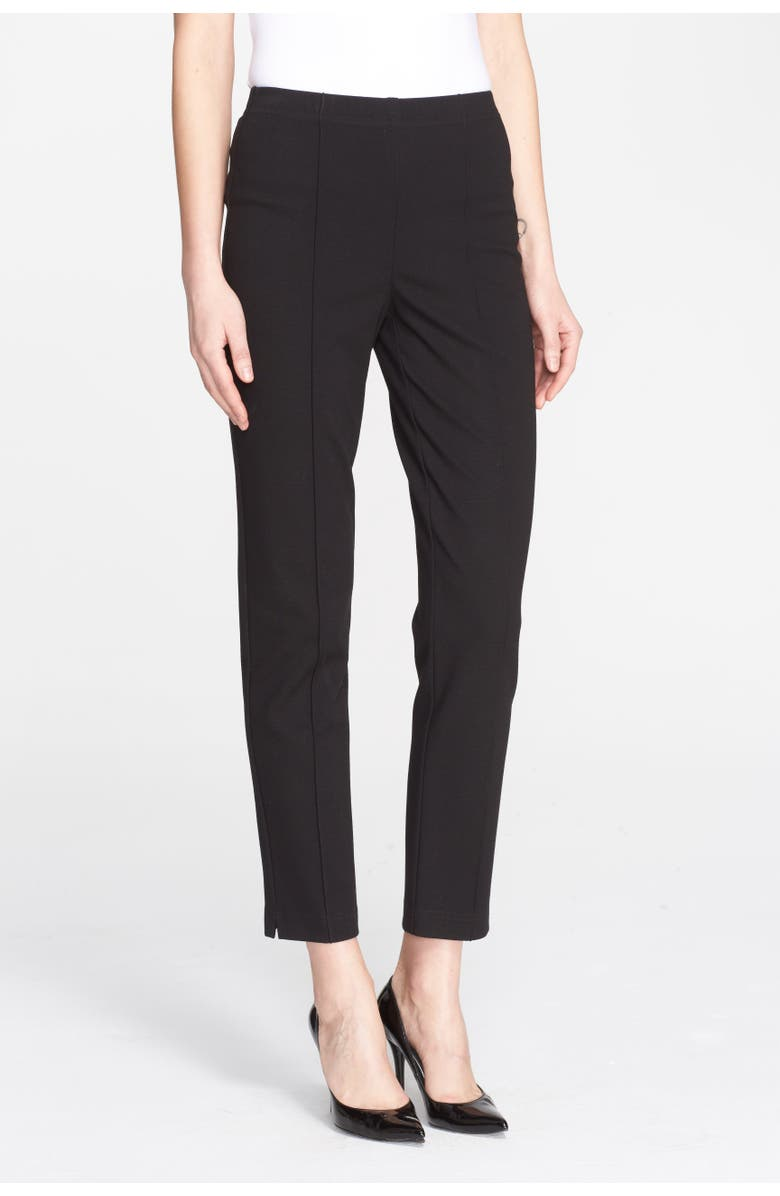 ST. JOHN COLLECTION Ponte Knit Ankle Pants, Main, color, CAVIAR
