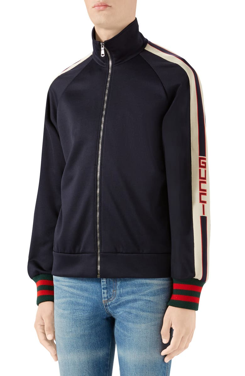 GUCCI Logo Tape Technical Jersey Track Jacket, Main, color, 001