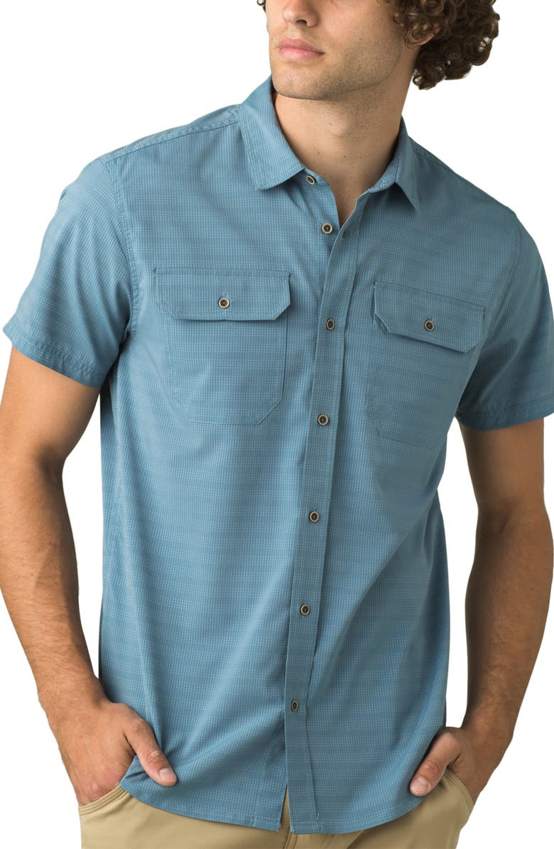 PRANA Men's Cayman Stripe Short Sleeve Button-Up Shirt, Main, color, BLUE NOTE
