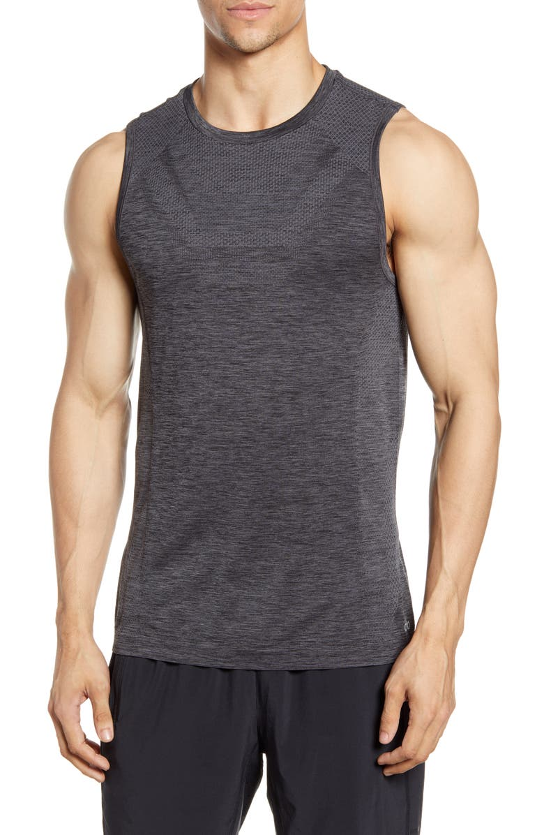 ALO Amplify Seamless Muscle Tank, Main, color, BLACK HEATHER