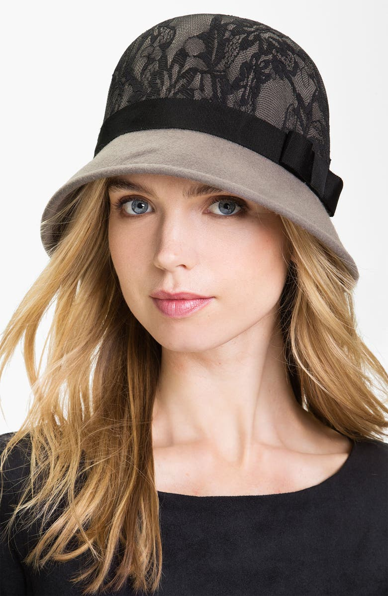SAN DIEGO HAT Lace & Wool Cloche, Main, color, 020