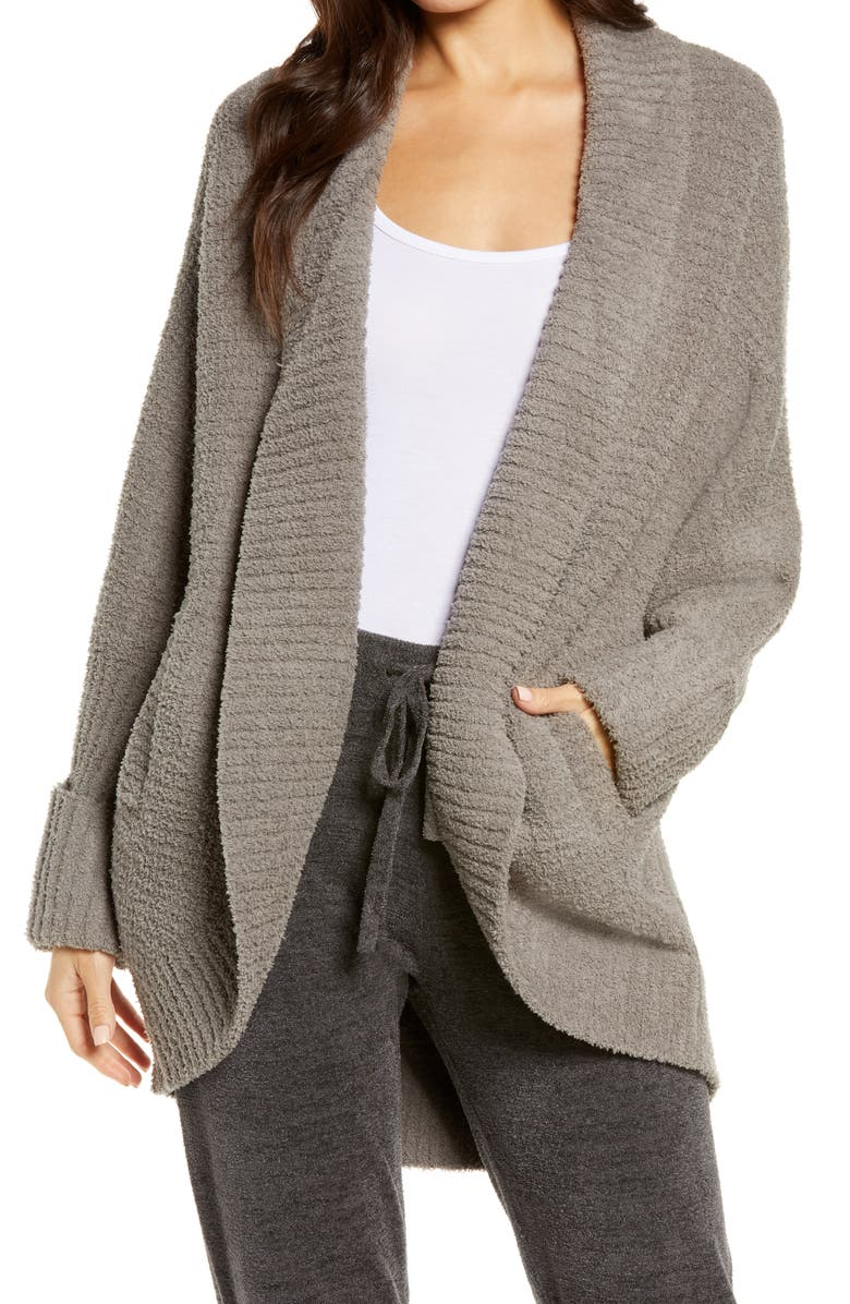 BAREFOOT DREAMS<SUP>®</SUP> Cozychic<sup>®</sup> Waffle Cocoon Cardigan, Main, color, STORM GRAY