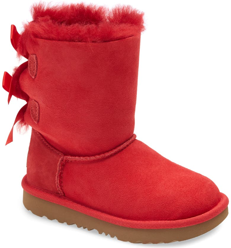 UGG<SUP>®</SUP> Bailey Bow II Water Resistant Genuine Shearling Boot, Main, color, RIBBON RED