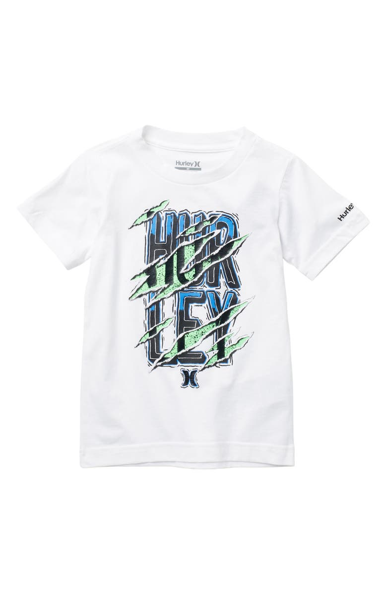 HURLEY Ripped Logo Graphic T-Shirt, Main, color, 001WHITE