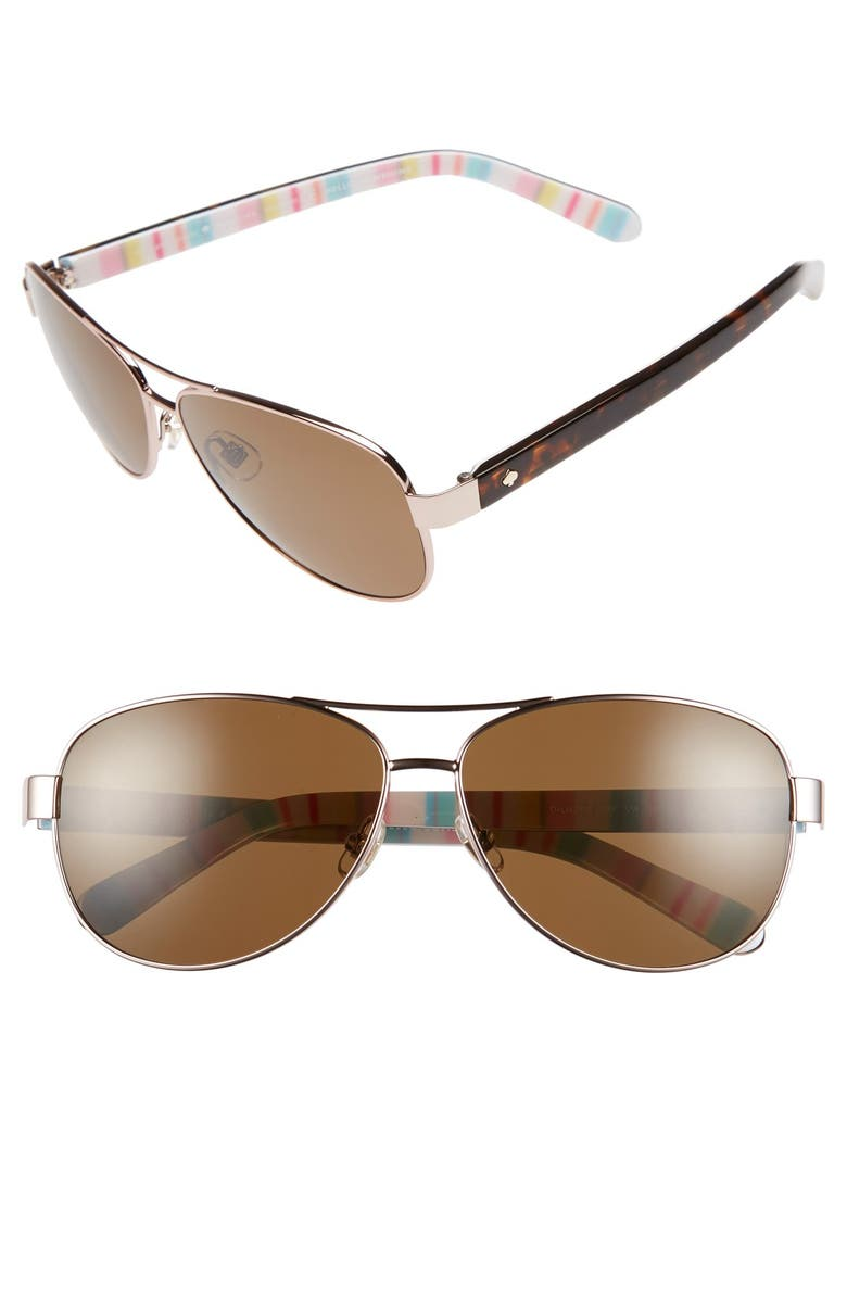 KATE SPADE NEW YORK 'dalia' 58mm polarized aviator sunglasses, Main, color, ROSE GOLD/ RED
