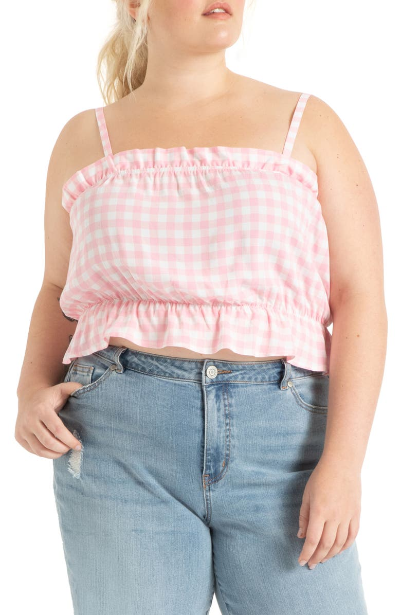 ELOQUII Ruffle Gingham Crop Top, Main, color, CHECK IT OUT FIJI FLOWER