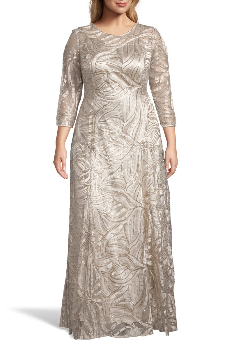 TAHARI Embellished A-Line Gown, Main, color, 250