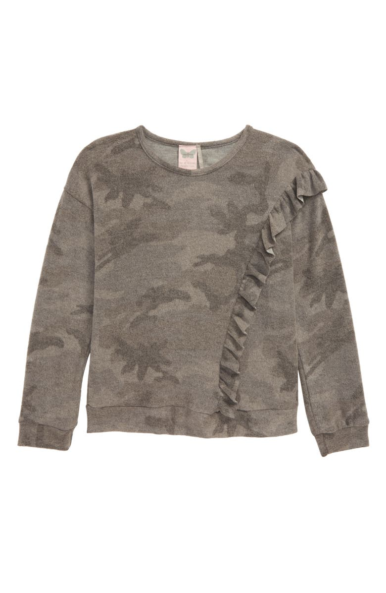 FOR ALL SEASONS Brushed Camo Long Sleeve Ruffle Top, Main, color, 034