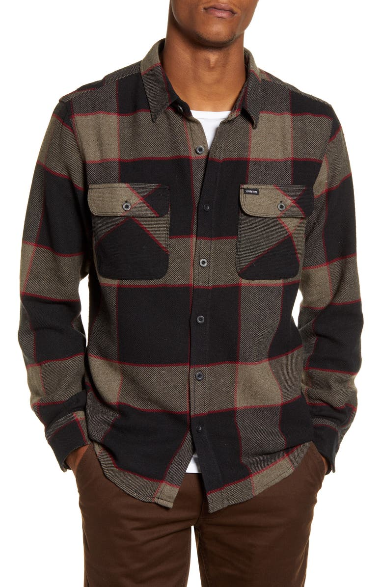 BRIXTON Bowery Plaid Button-Up Flannel Shirt, Main, color, 050