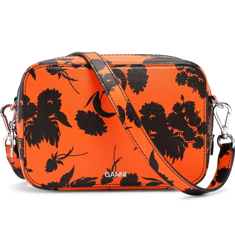 GANNI Exclusive Floral Leather Camera Bag, Main, color, FLAME