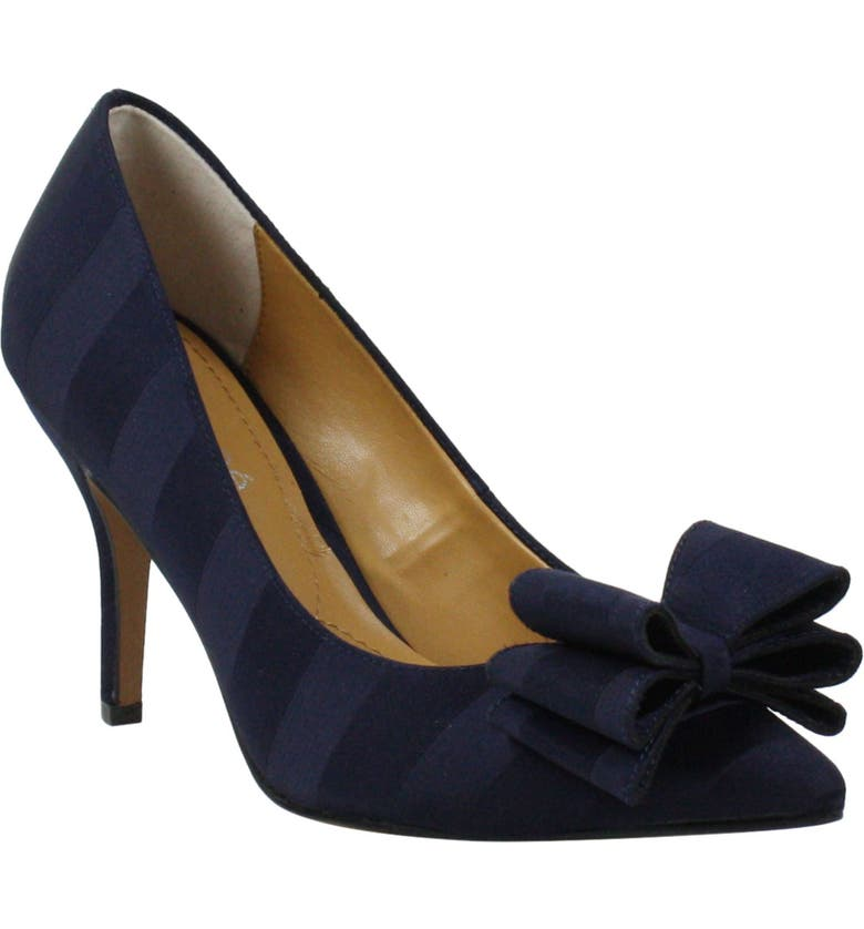 J. RENEÉ Perceval Pointed Toe Pump, Main, color, NAVY STRIPED FABRIC