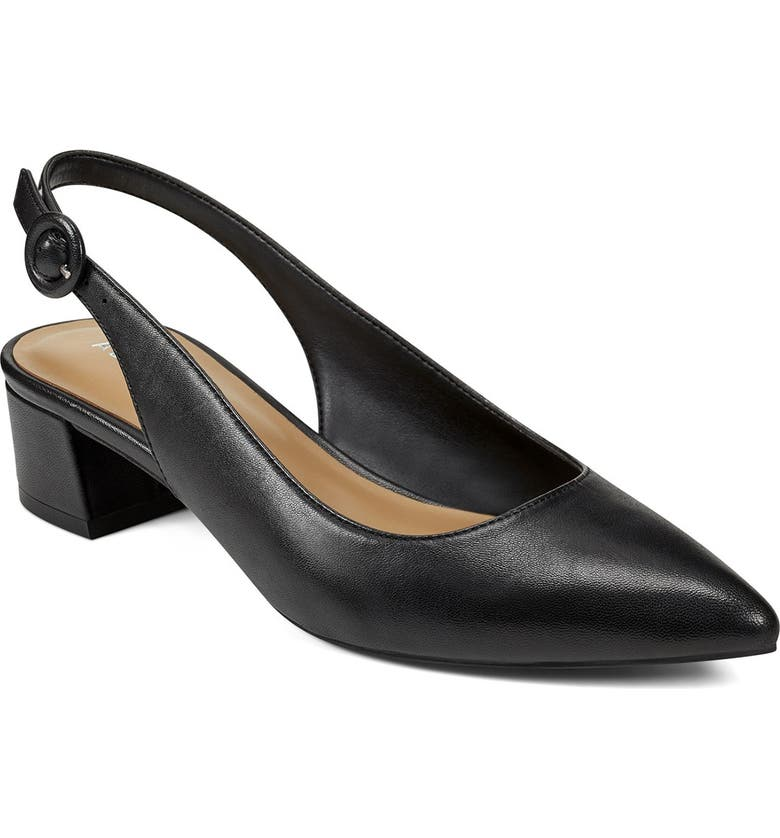 AEROSOLES Grand Central Pointed Toe Slingback Pump, Main, color, BLACK LEATHER
