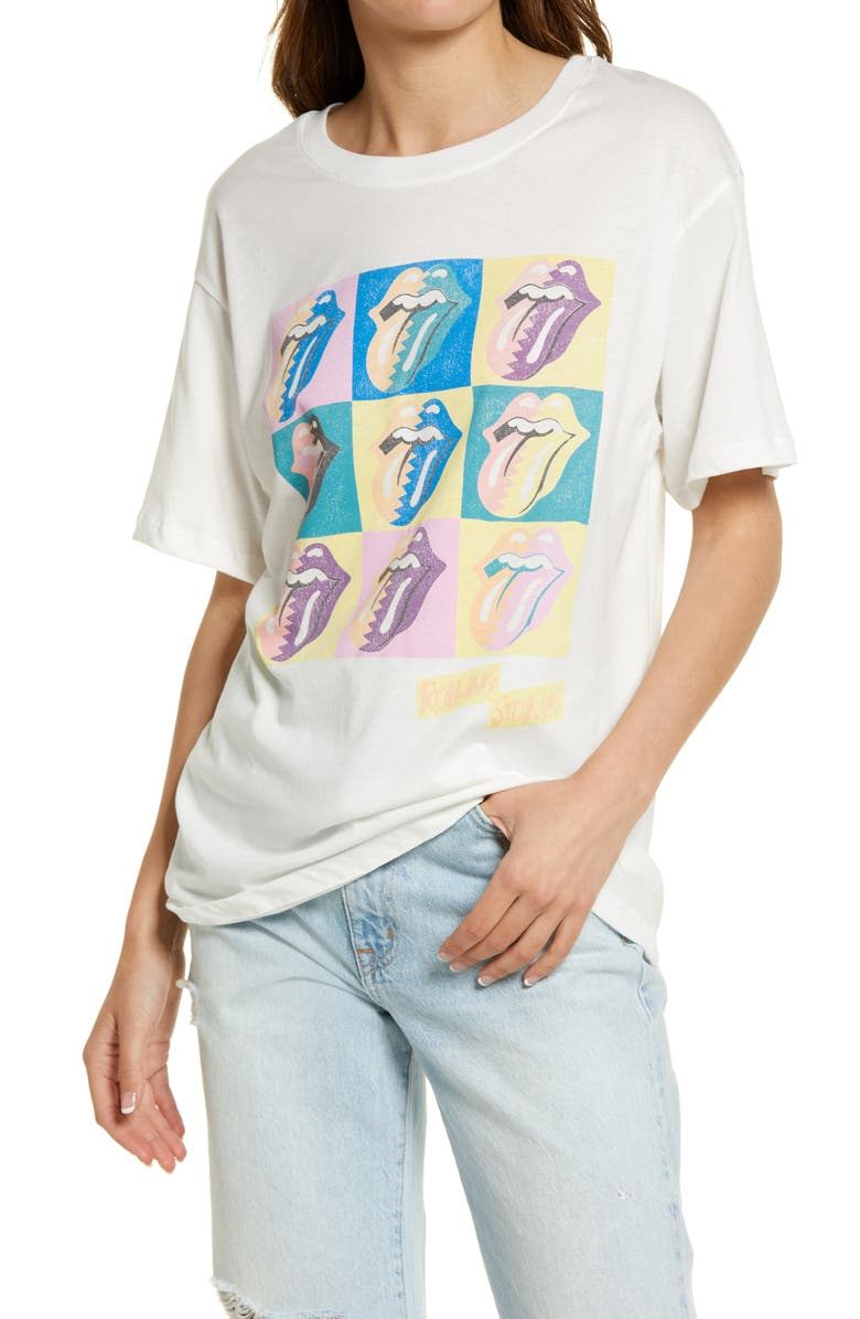 DAYDREAMER Women's Rolling Stones Graphic Tee, Main, color, VINTAGE WHITE