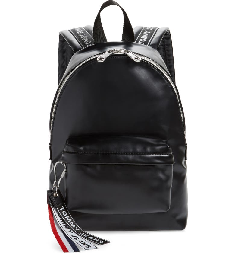 TOMMY JEANS Logo Tape Faux Leather Backpack, Main, color, 002