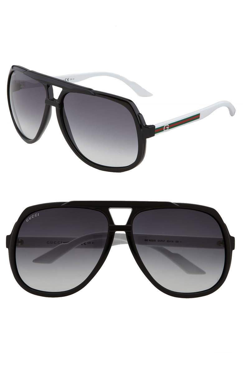 GUCCI Vintage Inspired Stripe 63mm Aviator Sunglasses, Main, color, 001