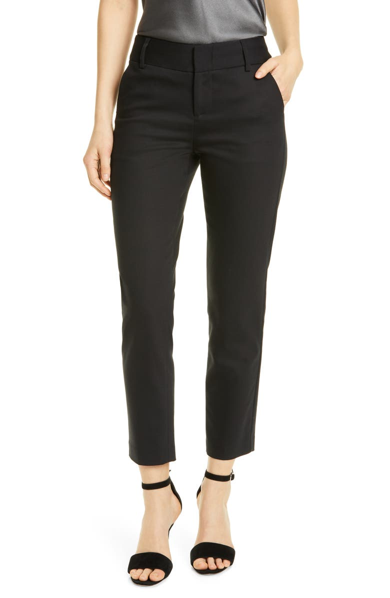 ALICE + OLIVIA Stacey Slim Stretch Cotton Blend Trousers, Main, color, BLACK