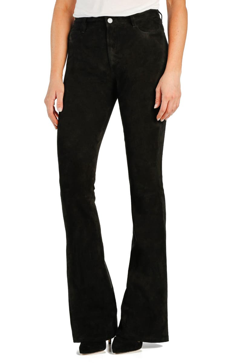 PAIGE 'Bell Canyon' High Rise Suede Flare Pants, Main, color, Black