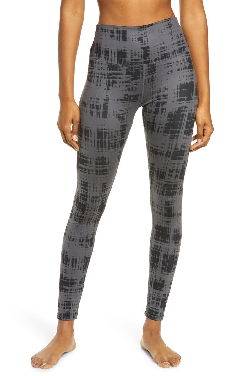 ZELLA High Waist Studio Lite Ankle Leggings, Main, color, GREY FORGED- BLACK PLAID