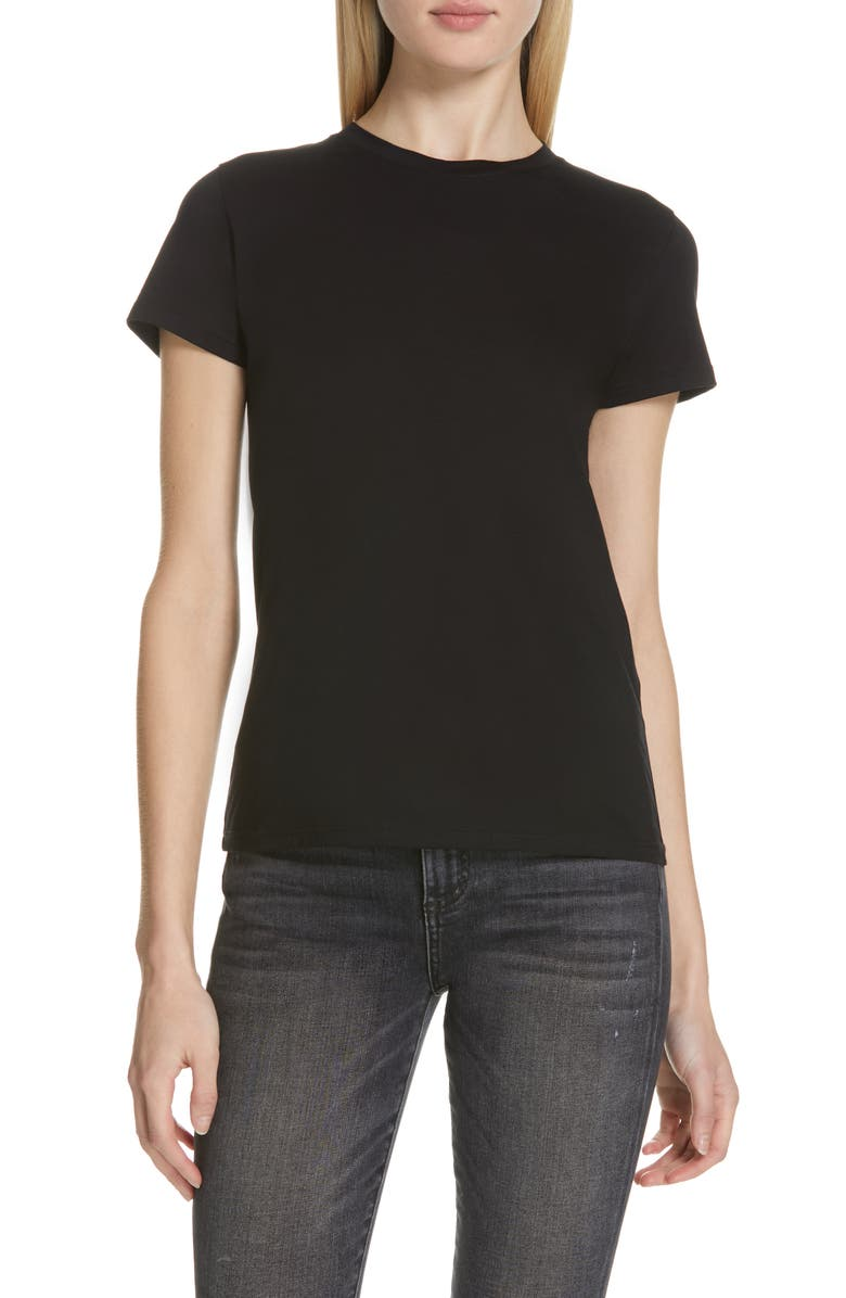 VINCE Essential Crewneck Top, Main, color, BLACK