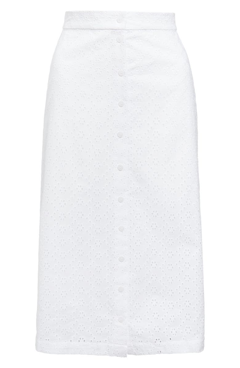 RACHEL PARCELL Front Button Eyelet Skirt, Main, color, 100