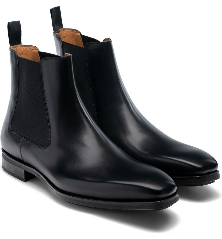 MAGNANNI Riley Chelsea Boot, Main, color, BLACK LEATHER