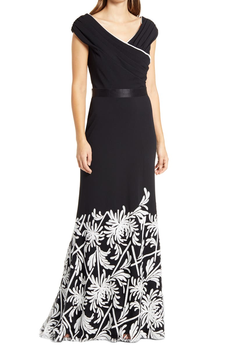 TADASHI SHOJI Sequin Floral Mixed Media Crepe Fit & Flare Gown, Main, color, BLACK/ IVORY