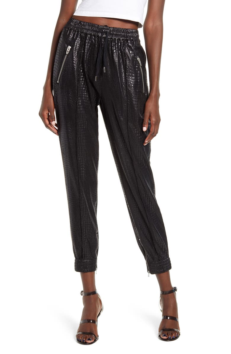 BLANKNYC Faux Leather Drape Front Pants, Main, color, 001
