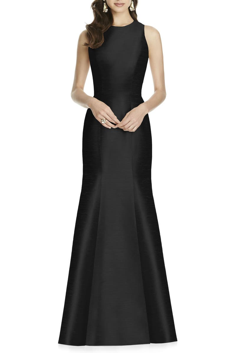 ALFRED SUNG Dupioni Trumpet Gown, Main, color, BLACK