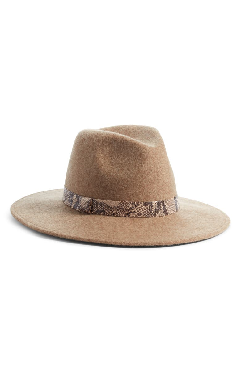 TREASURE & BOND Snakeskin Trim Wool Panama Hat, Main, color, 235