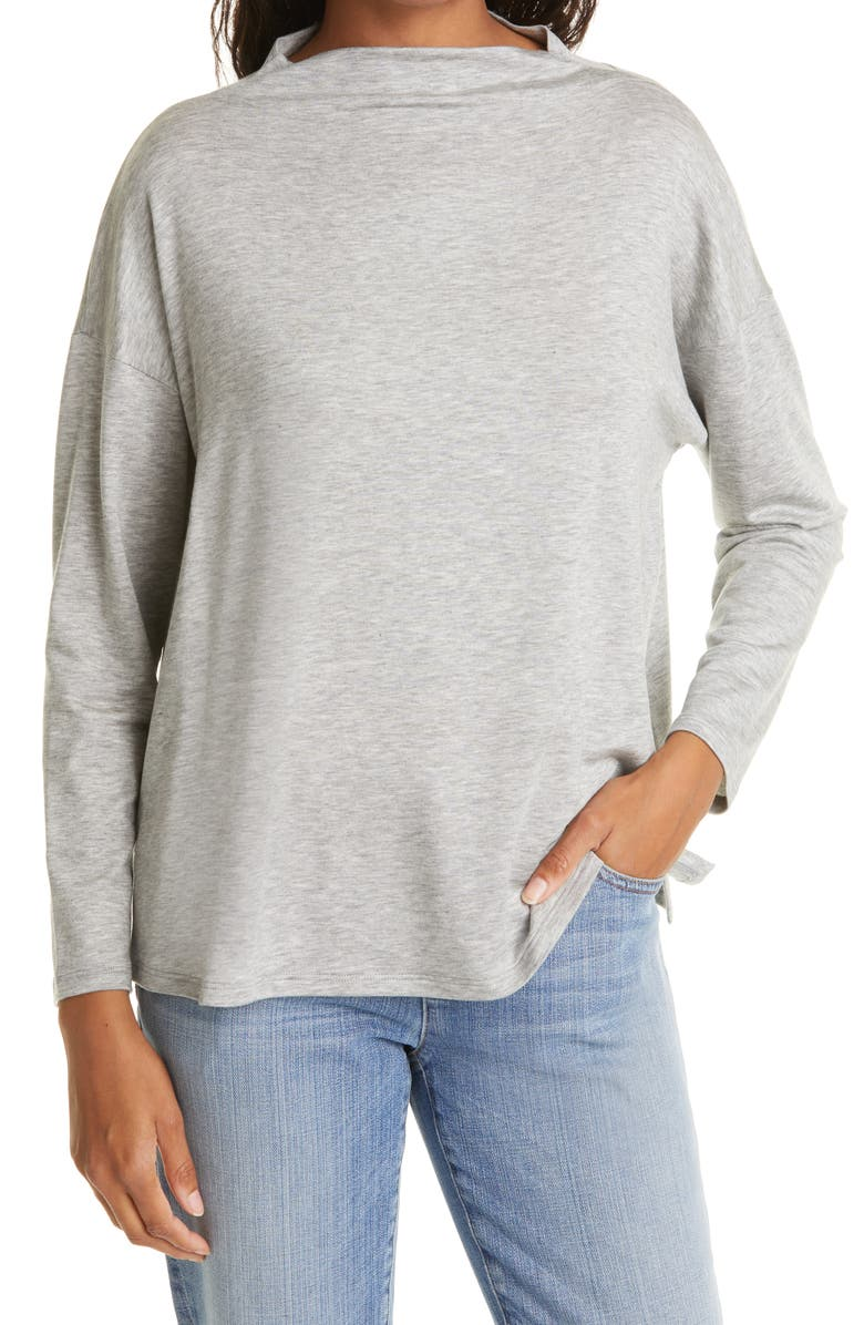 EILEEN FISHER Stretch Terry Funnel Neck Box Top, Main, color, DARK PEARL