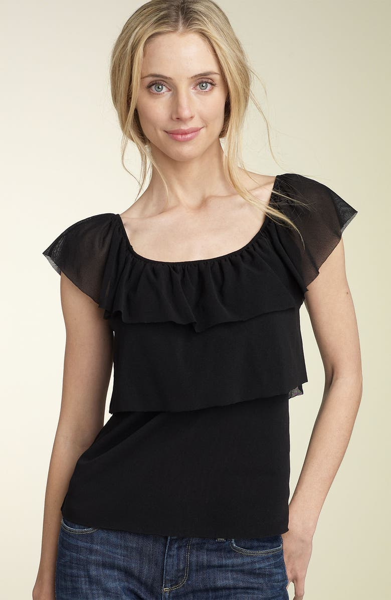 SWEET PEA BY STACY FRATI Ruffle Tier Mesh Top, Main, color, BLACK
