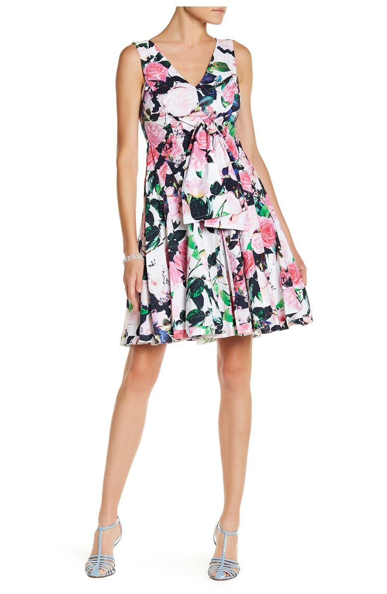 BETSEY JOHNSON Floral Fit & Flare Dress, Main, color, 155
