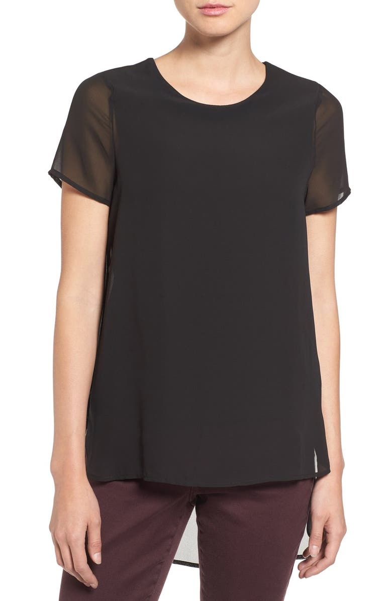 VINCE CAMUTO Short Sleeve Chiffon Top, Main, color, 001